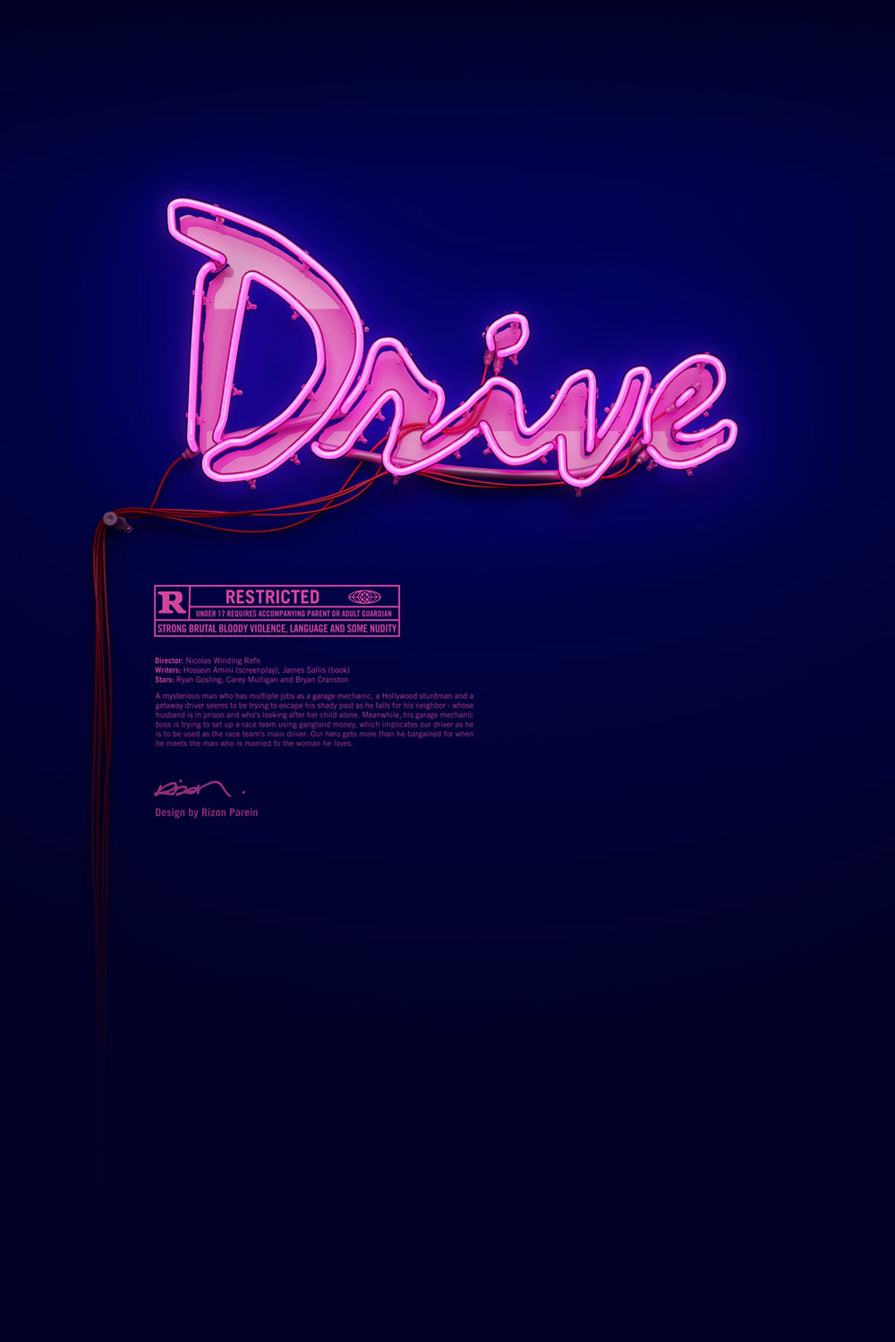 Neon Drive Poster by Rizon Parein | Yellowtrace