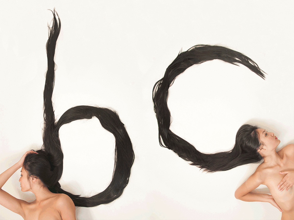 Shurong Diao forms Hair Alphabet from Long Locks   Yellowtrace