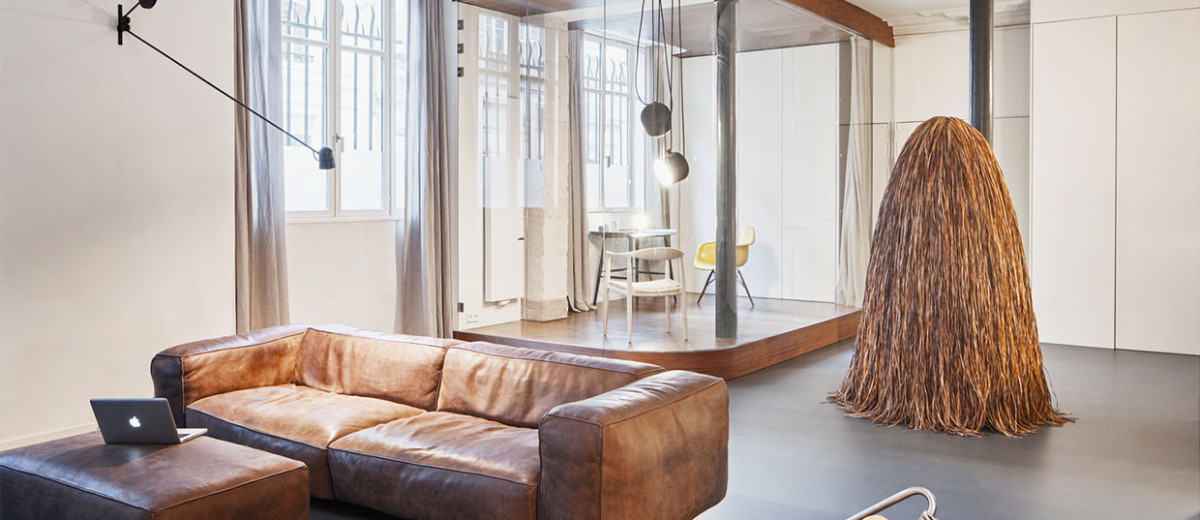 Glass & Walnut Loft in Paris by CUT Architectures | Yellowtrace