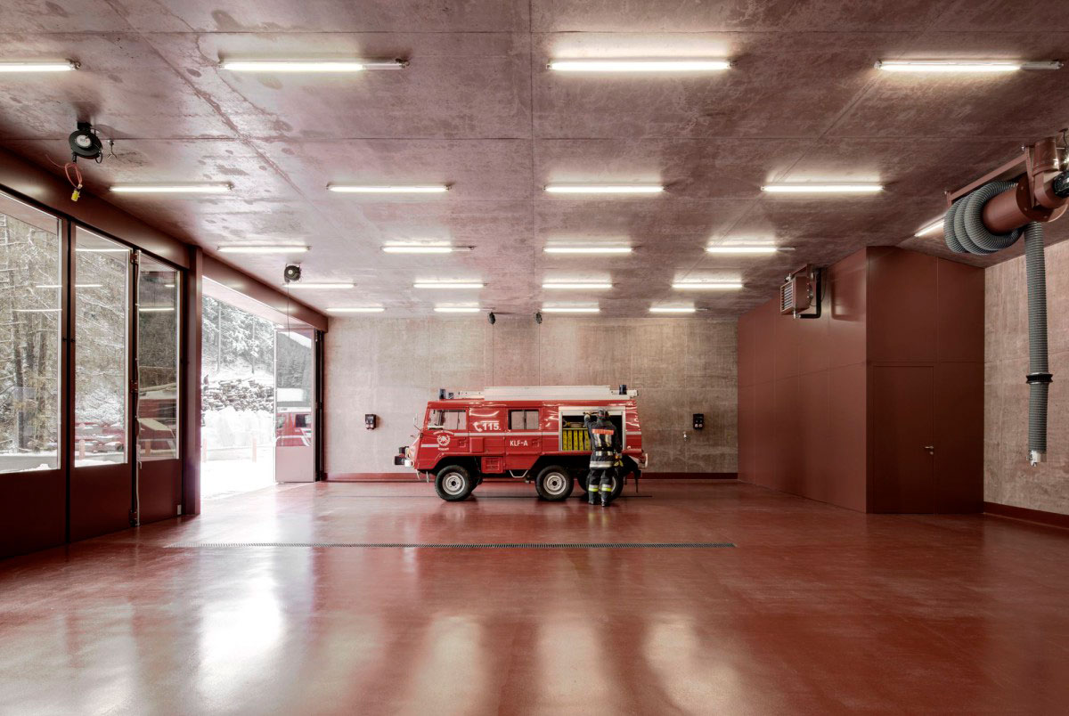 Rose Tinted Concrete Fire Station by Pedevilla Architects | Yellowtrace