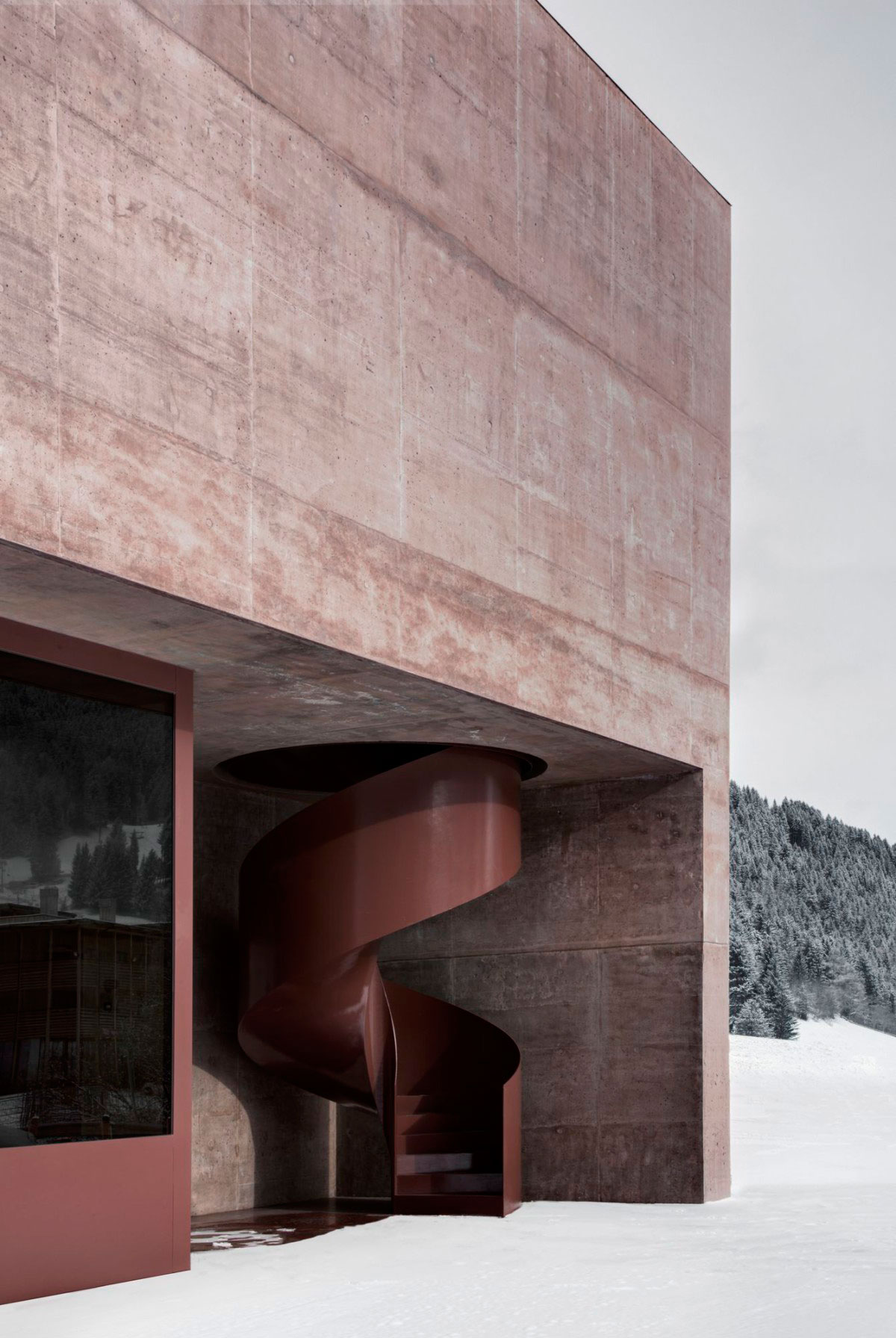 Rose Tinted Concrete Fire Station by Pedevilla Architects   Yellowtrace