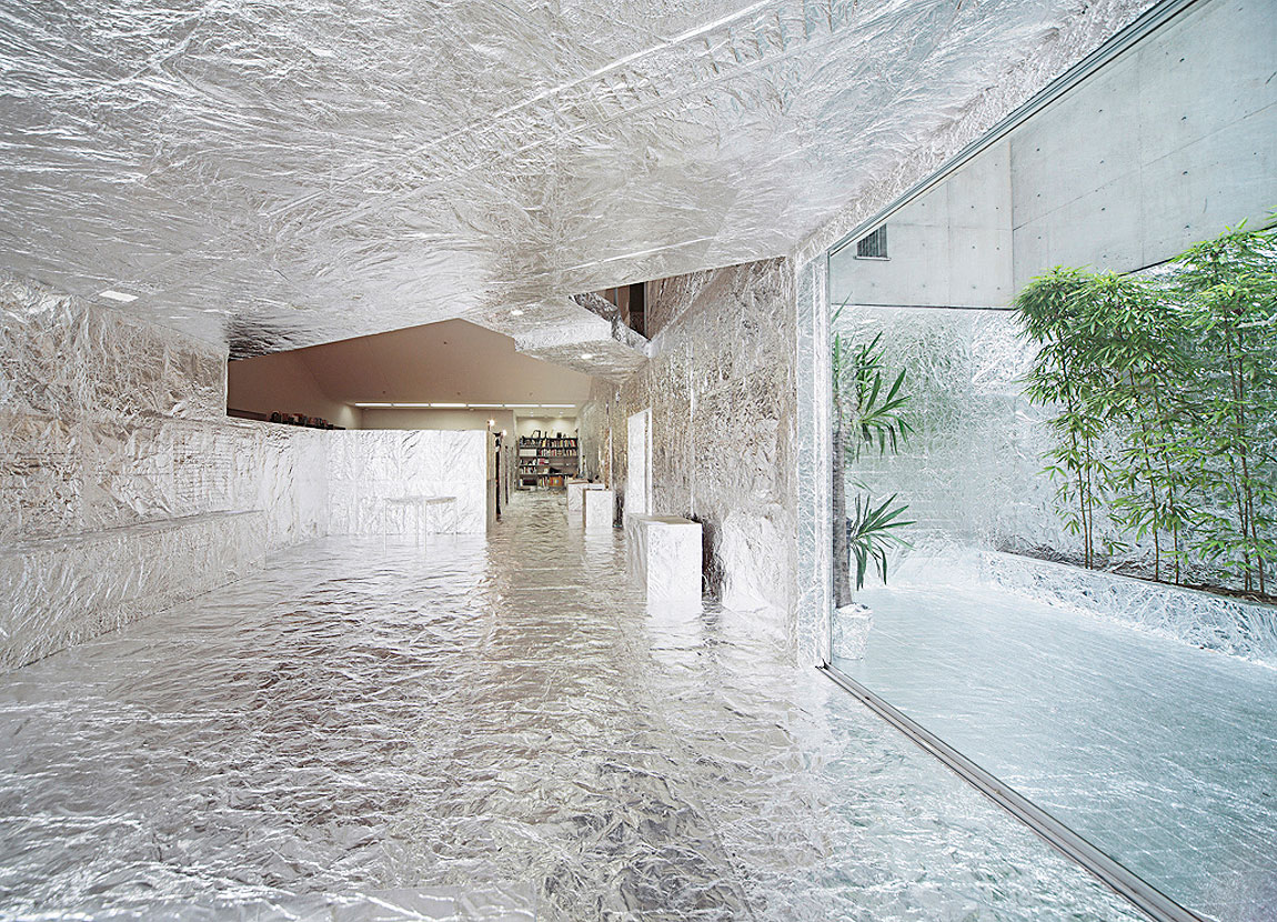TECHTILE #3 by NOSIGNER: Gallery Interior Wrapped in Aluminium Foil | Yellowtrace