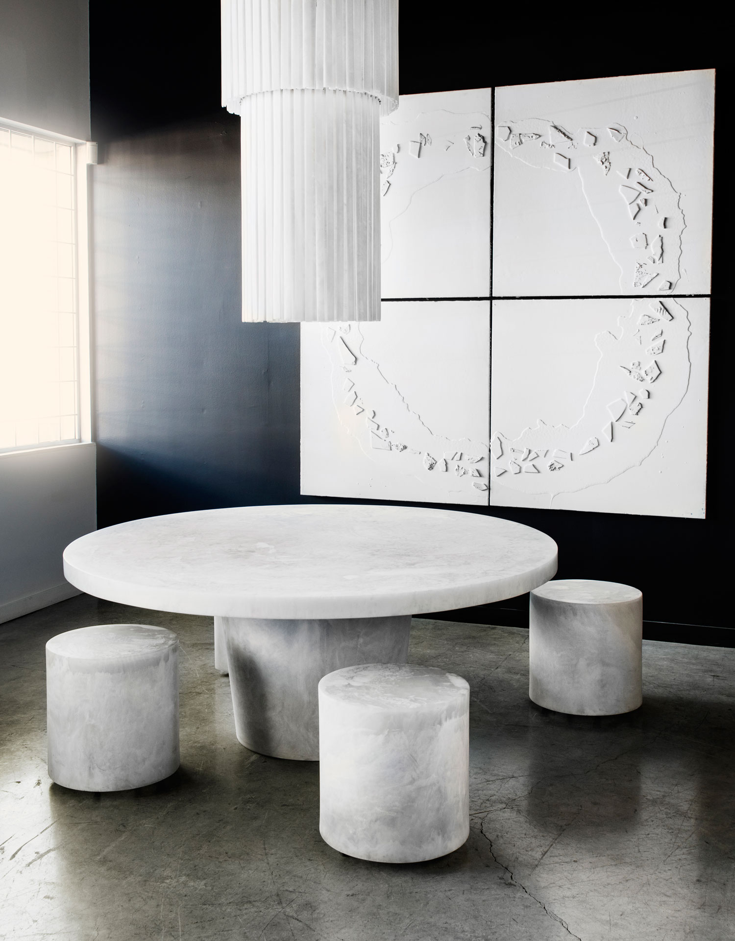 White table stools and Art by Martha Sturdy | Yellowtrace