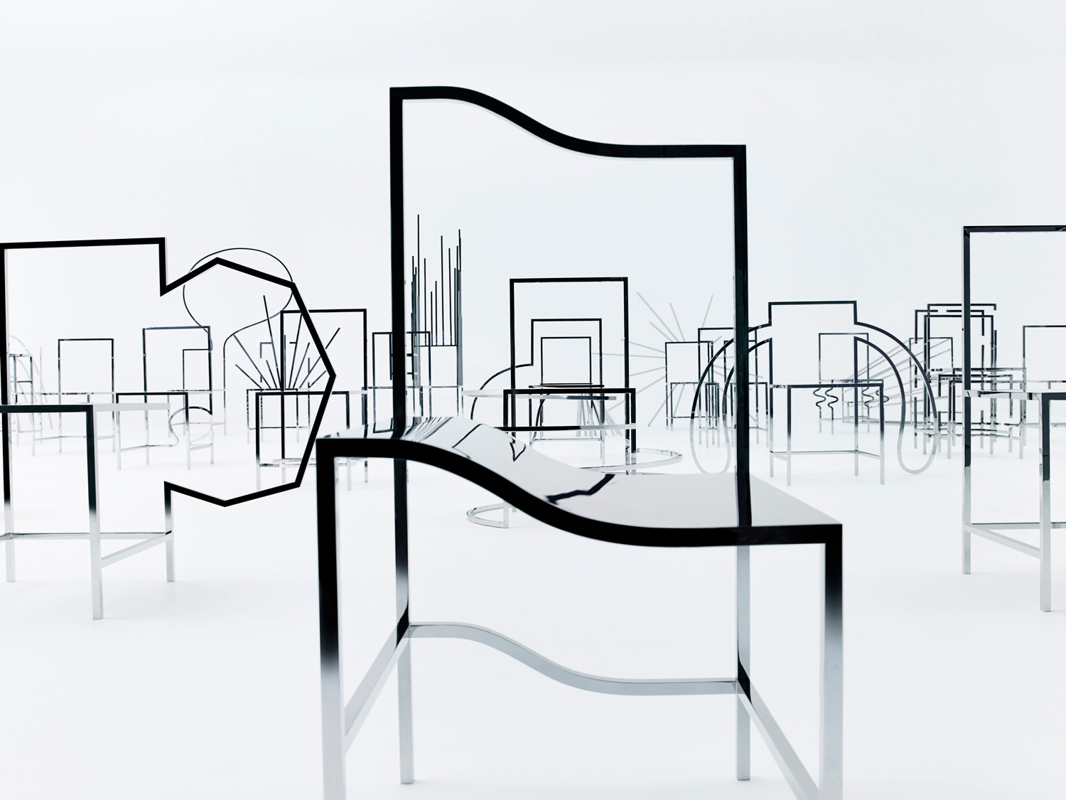 New York Gallery Friedman Benda And Japanese Studio Nendo Presented 50  Manga Chairs, The Installation Of Stainless Steel Chairs Which Made Its  European ...