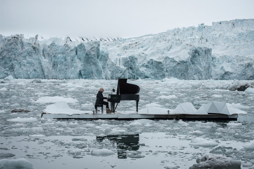 Floating Performance in Middle of the Arctic Ocean by Ludovico Einaudi for Greenpeace   Yellowtrace