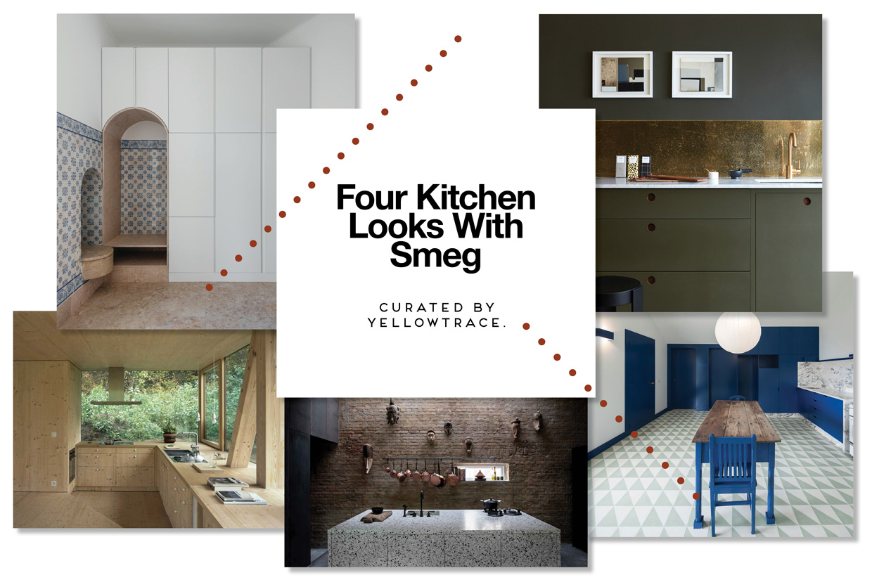 Four kitchen looks with smeg linear collection.