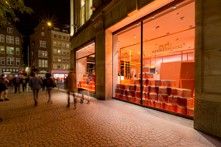 Hermesmatic: Hermes 80th Anniversary Laundromat Pop Up Concept | Yellowtrace