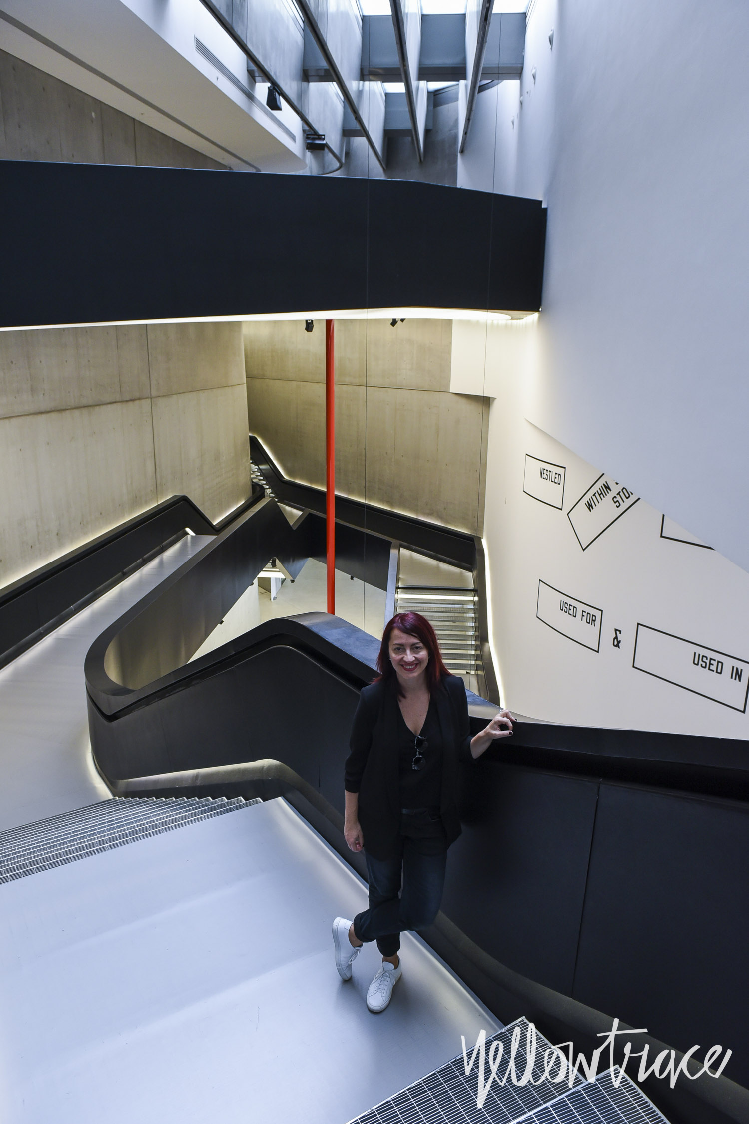 Dana Tomic Hughes at MAXXI Museum Rome by Zaha Hadid. Photo by Nick Hughes | Yellowtrace