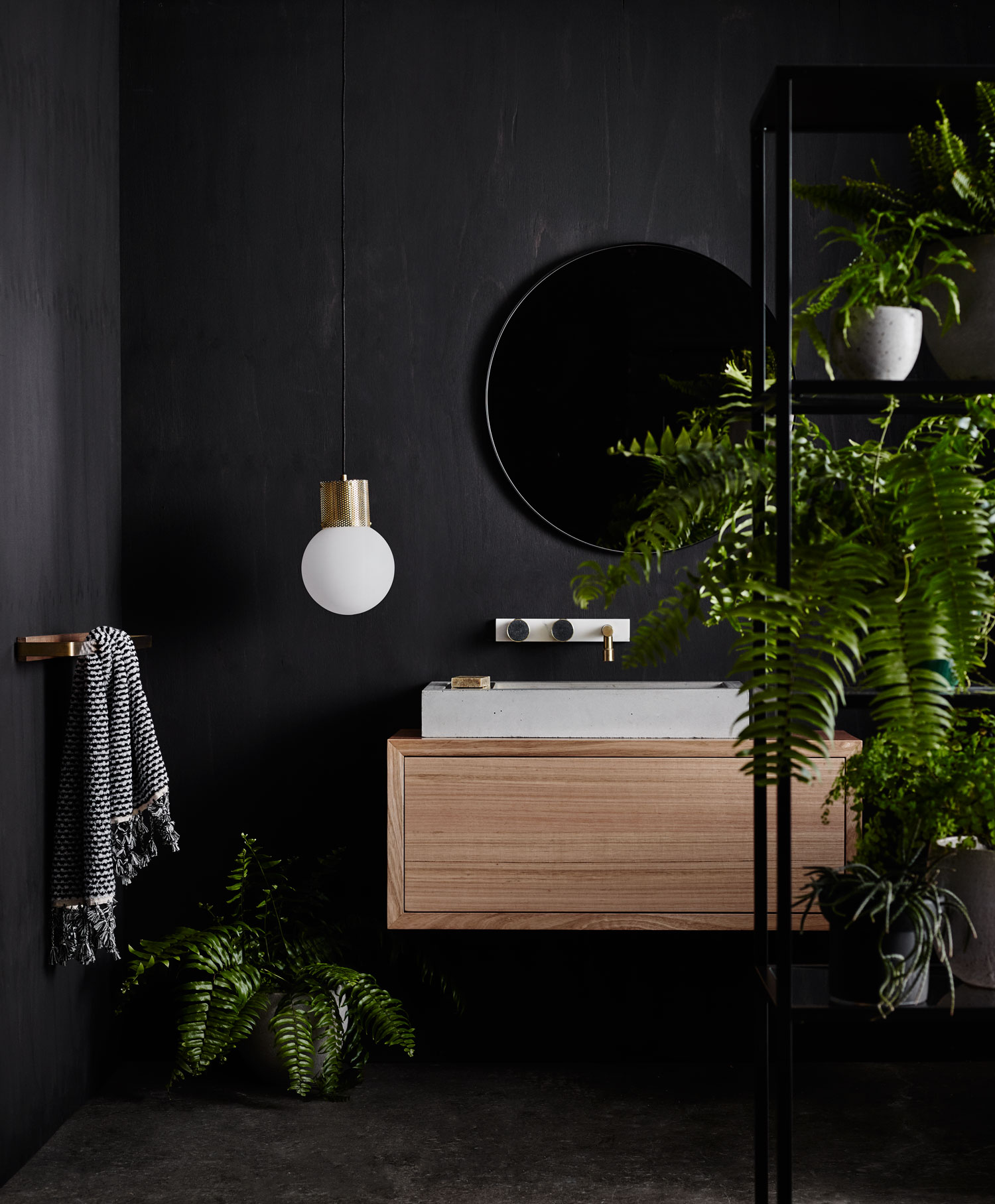 Wood melbourne 39 s new collection of bathroom products for Flat black wall paint