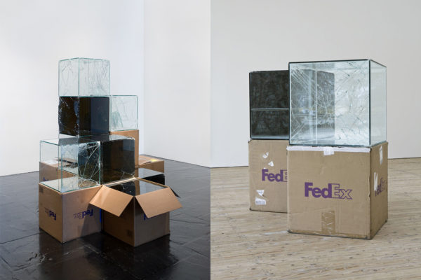 FedEx Works by Walead Beshty: Shipped Glass Boxes Become Shattered Sculptures | Yellowtrace