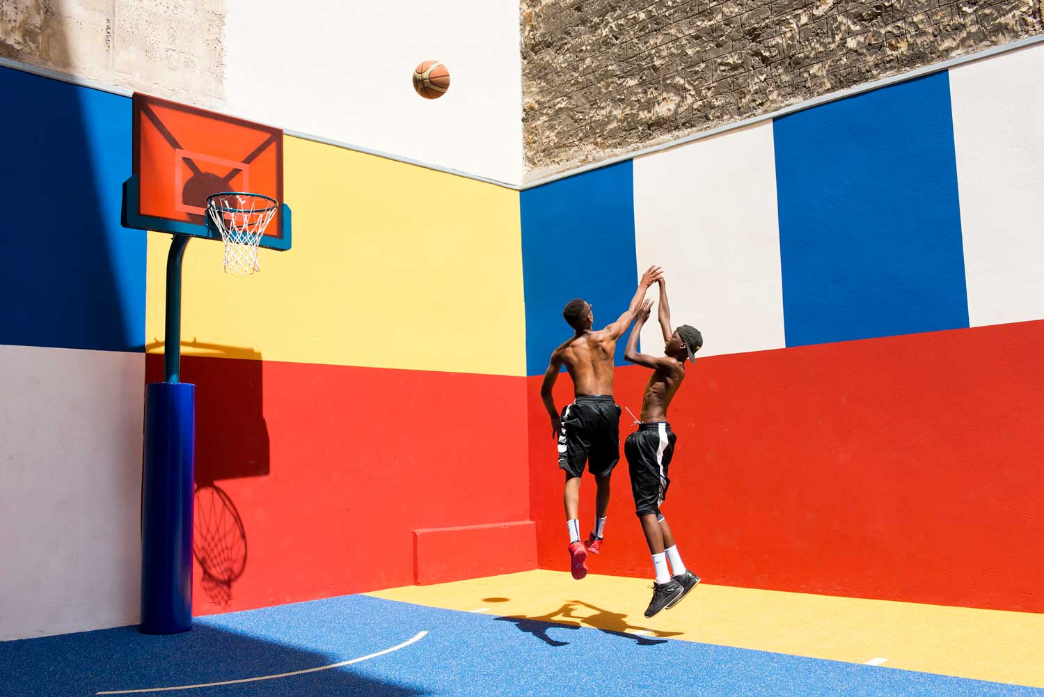 Pigalle Duperre and Ill Studio Paris Basketball Court Multi-coloured Installation | Yellowtrace