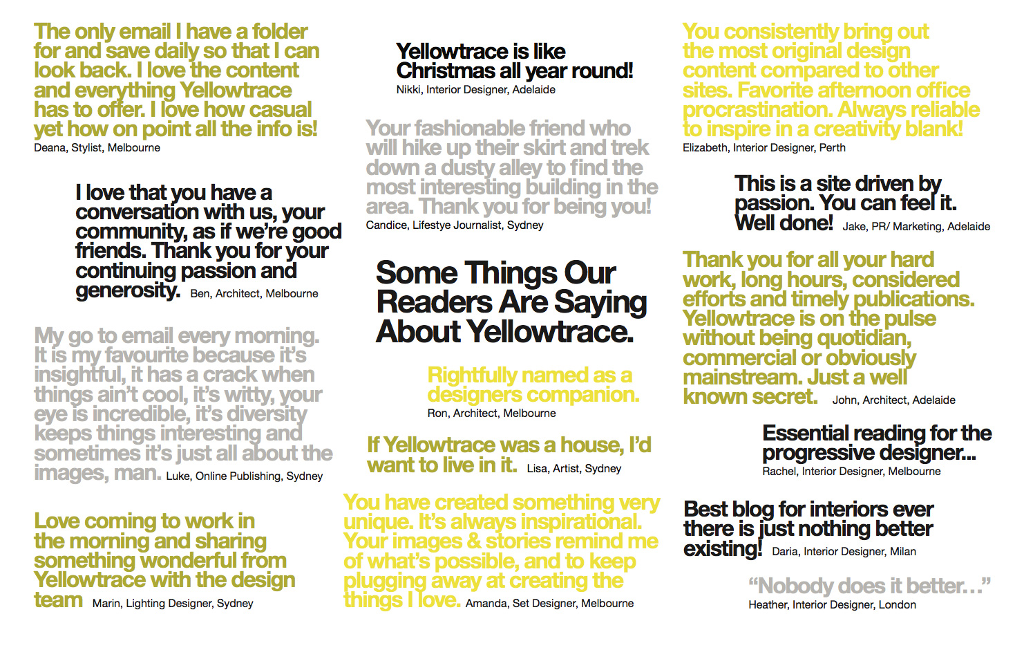 What Readers Are Saying About Yellowtrace