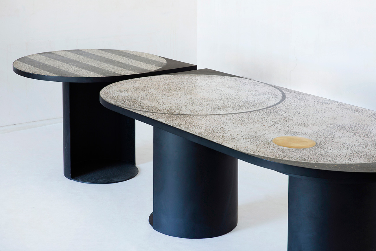 Terrazzo Tables by Rooms at Rossana Orlandi, Milantrace 2017 | Yellowtrace