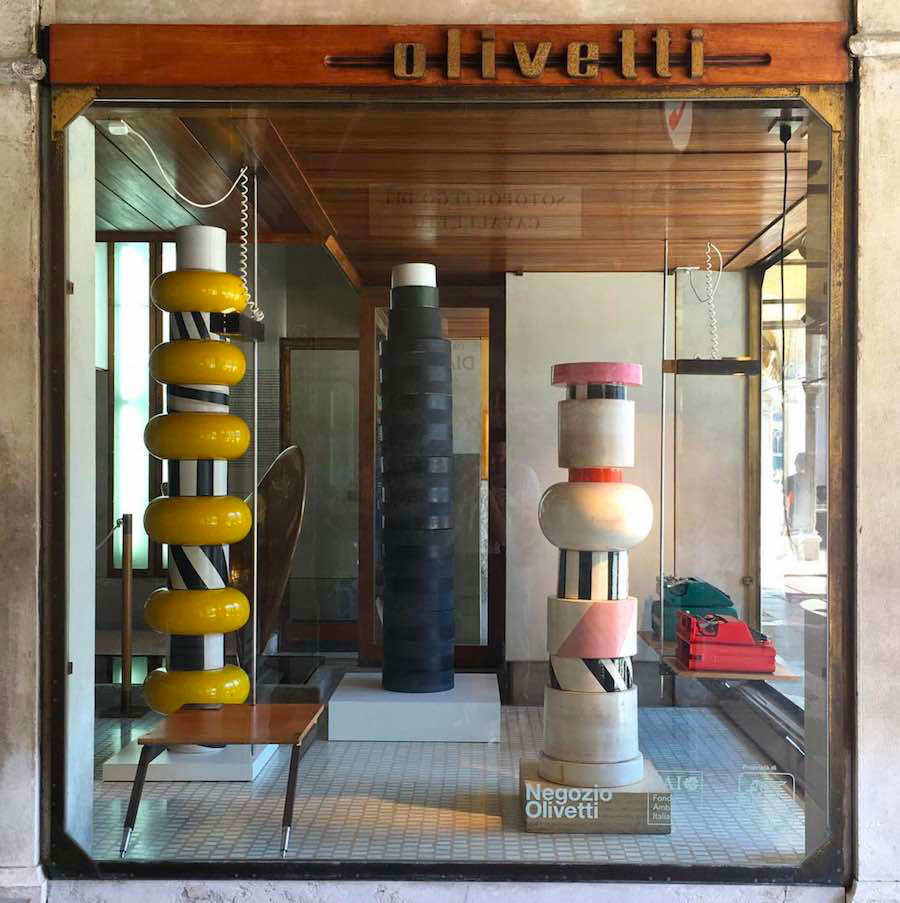 Ettore Sottsass Carlo Scarpa at the Olivetti Showroom at Venice Biennale 2017   Yellowtrace