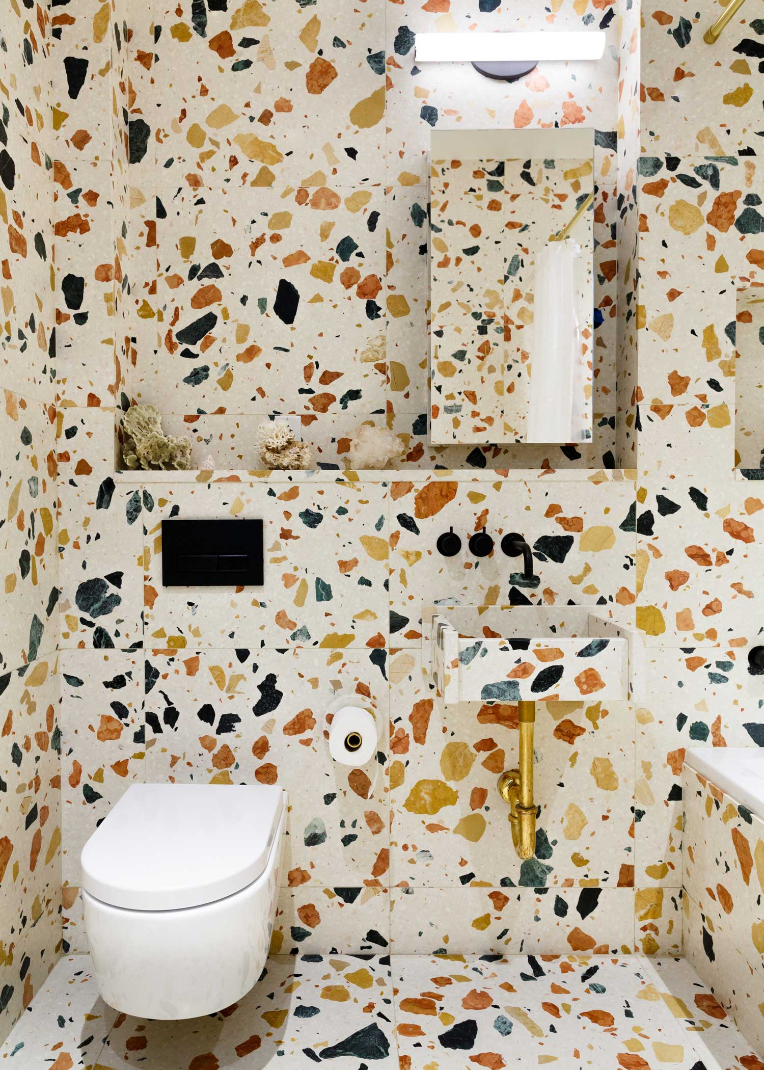 Pair of bathrooms in New York Residence, Marmoreal by Max Lamb | Yellowtrace