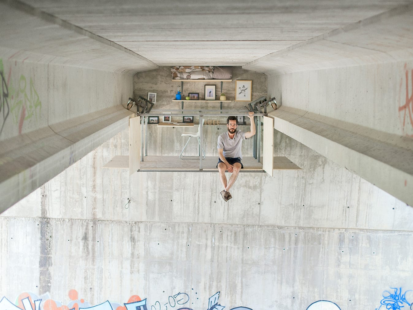 Fernando Abellanas Designs Secret Studio Under Bridge in Spain | Yellowtrace