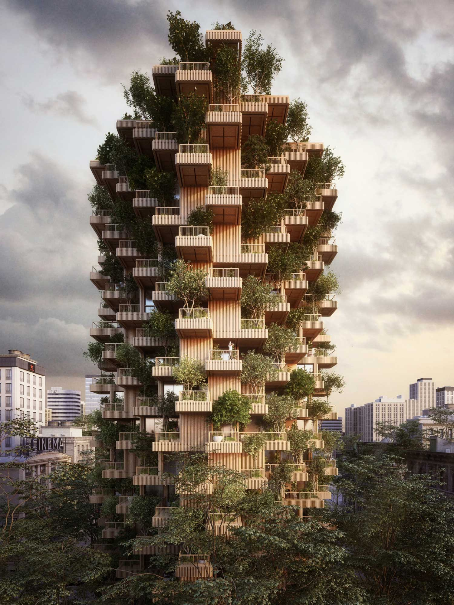 Penda Designs Modular Timber Tower Inspired by Habitat 67 for Toronto| Yellowtrace