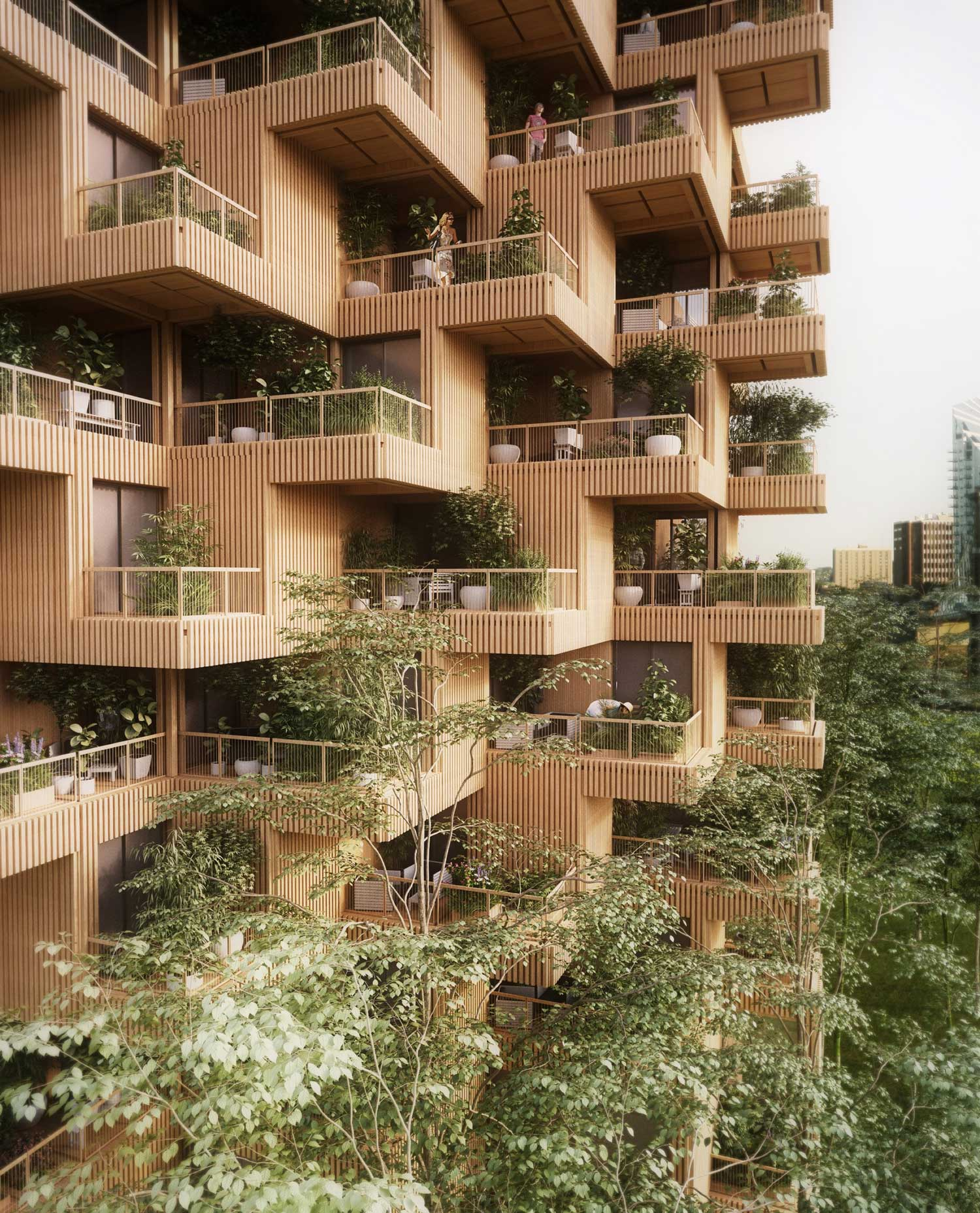 Penda Designs Modular Timber Tower Inspired by Habitat 67 for Toronto | Yellowtrace