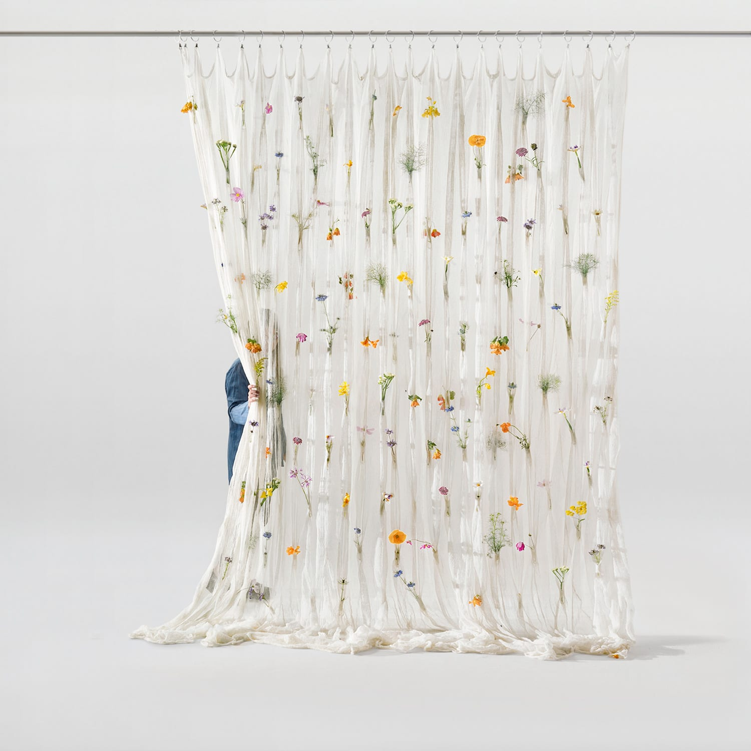Living Divider: Draped Flowers Curtain by Akane Moriyama for Umé Studio | Yellowtrace