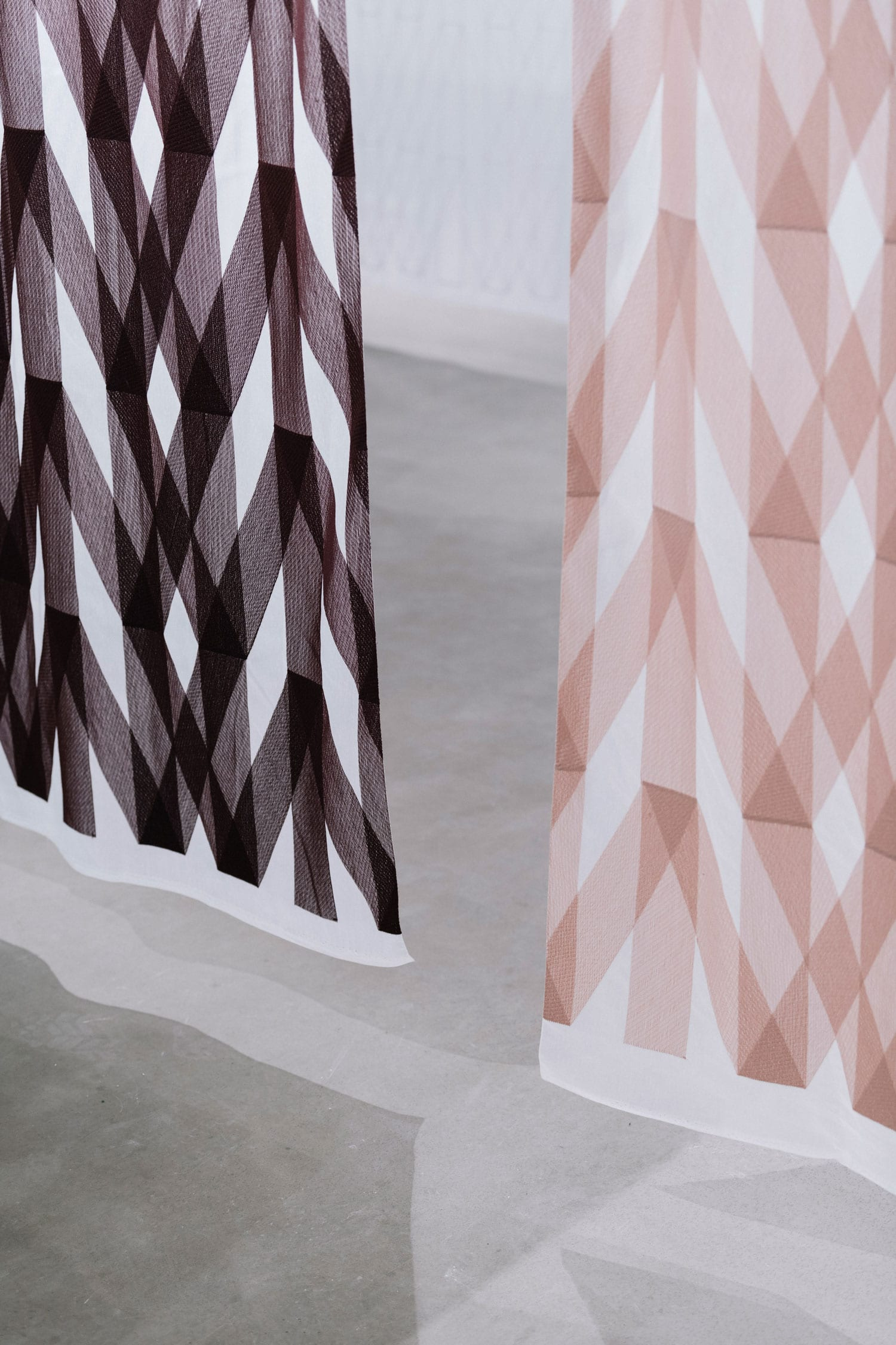 Ronan & Erwan Bouroullec Embroider Geometric Patterns on Translucent Kvadrat Fabric Stockholm Furniture Fair 2018 | Yellowtrace