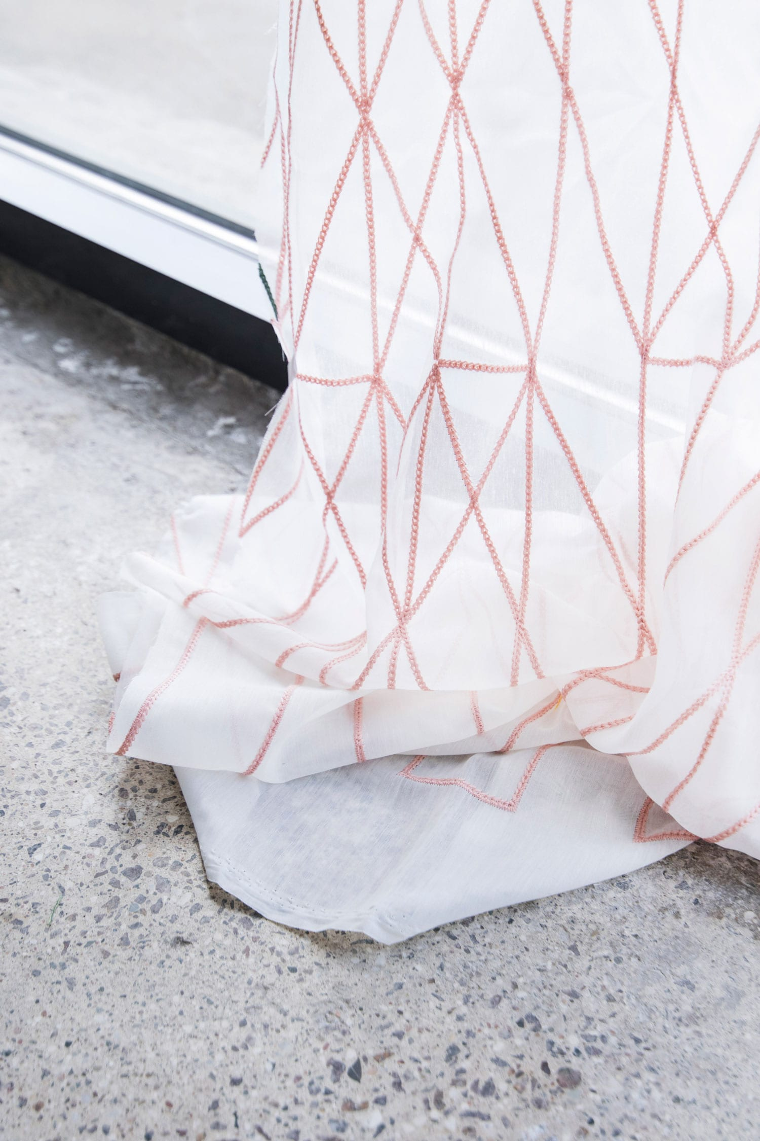 Ronan & Erwan Bouroullec Embroider Geometric Patterns on Translucent Kvadrat Fabric Stockholm Furniture Fair 2018   Yellowtrace
