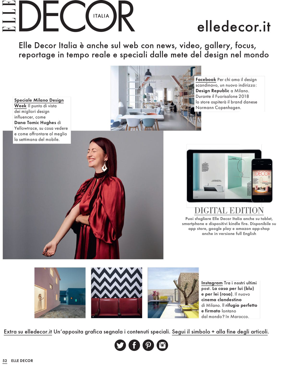 Elle Decor Italia April 2018 Salone del Mobile Special Issue Featuring Dana Tomic Hughes | Yellowtrace