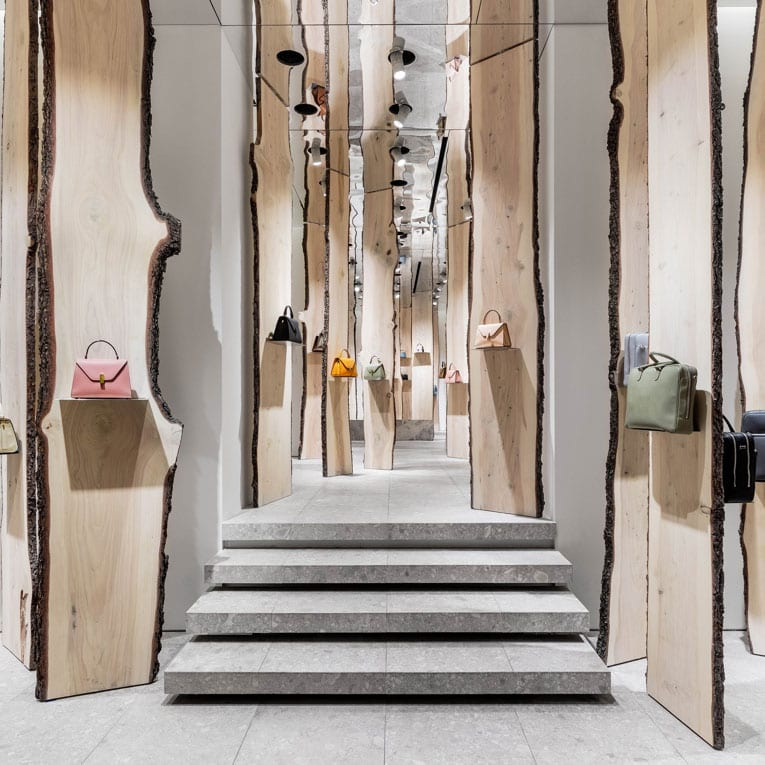 The Forest - Kengo Kuma pop-up at Valextra Store Milan | Yellowtrace