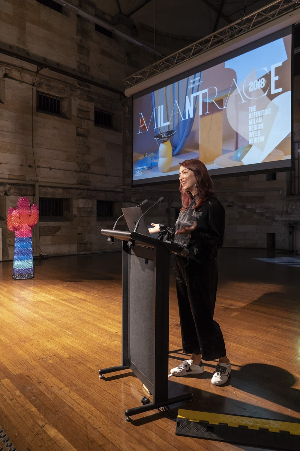 Dana Tomic Hughes presenting Milantrace 2018 Sydney Talk. Photo by Nick Hughes/ Yellowtrace
