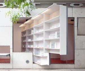 Storefront Library Installation in NYC by Abruzzo Bodziak Architects | Yellowtrace