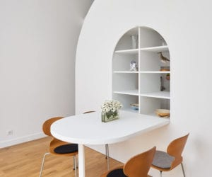 La Tournette: Parisian Pied-à-Terre by Freaks Architecture Divided With a Mobile Storage Unit | Yellowtrace