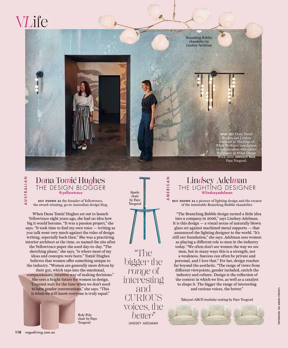 Dana Tomic Hughes, Yellowtrace profiled in Vogue Living as one of the world's most visionary and influential female creatives