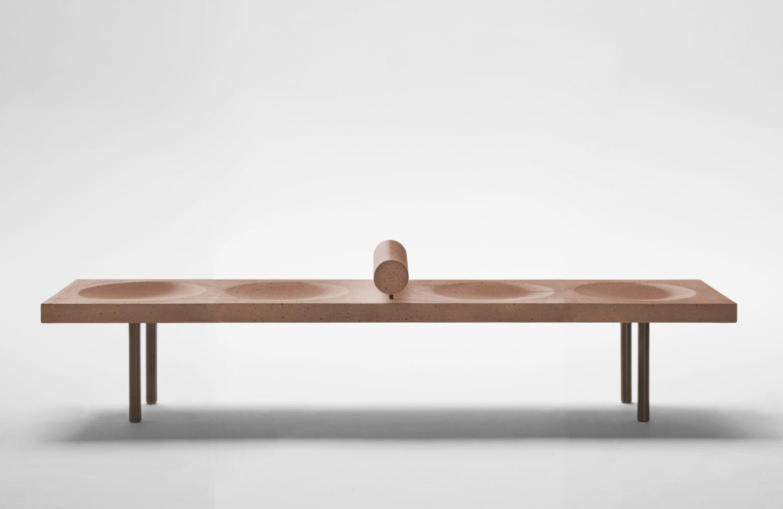 Espasso Domino Concreto Bench by Claudia Moreira Salles, Milan Design Week 2019 | Yellowtrace