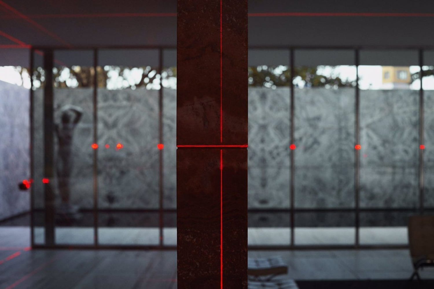 Geometry of Light: Barcelona Pavilion Lit With a Laser Grid by Luftwerk & Iker Gil   Yellowtrace