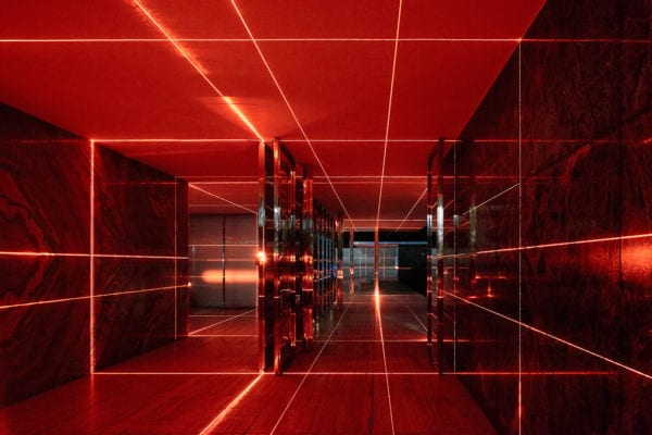 Geometry of Light: Barcelona Pavilion Lit With a Laser Grid by Luftwerk & Iker Gil | Yellowtrace