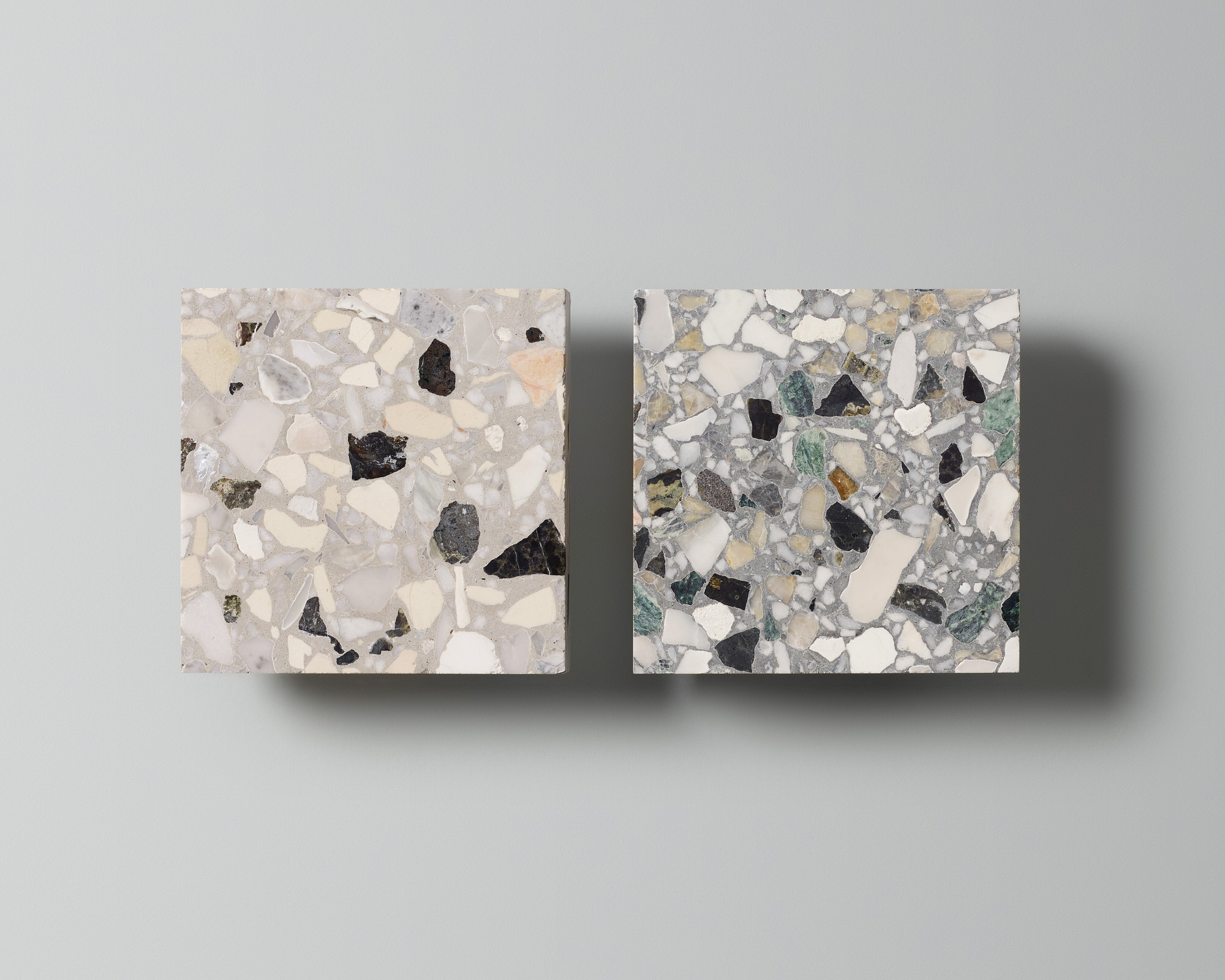 Fibonacci Stone, Ghosted and Polarity, Terrazzo Tile Collection Launch, Photo Haydn Cattach, Styling Nat Turnbull | Yellowtrace