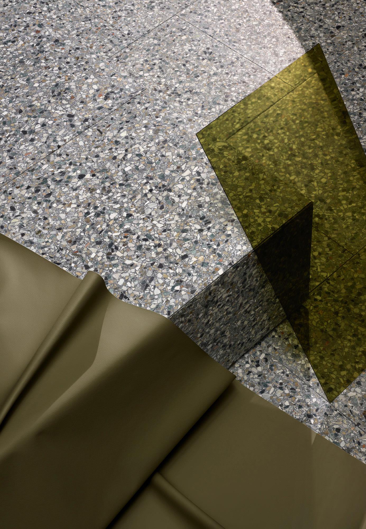 Fibonacci Stone, Polarity Terrazzo Tile Collection Launch, Photo Haydn Cattach, Styling Nat Turnbull | Yellowtrace