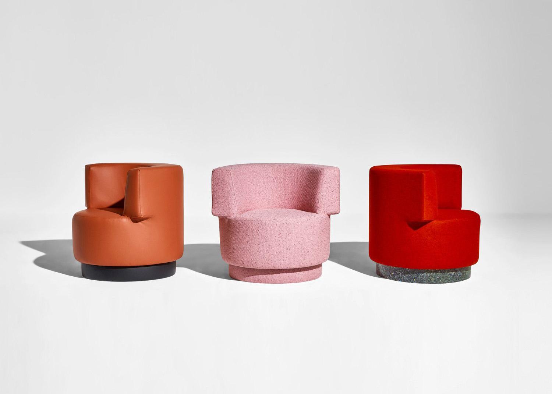DesignByThem Confetti Armchairs, Leather Fabric Mix, Australian Design   Yellowtrace