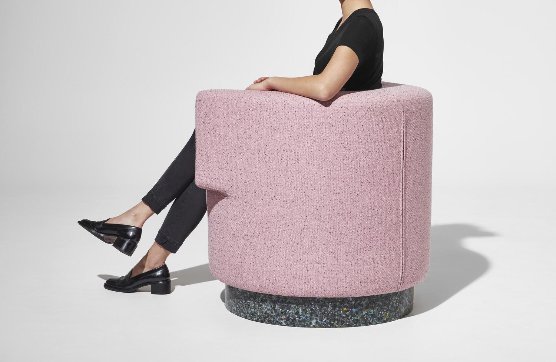 DesignByThem Confetti Armchairs, Pink Farbic Recycled Plastic Base, Australian Design   Yellowtrace