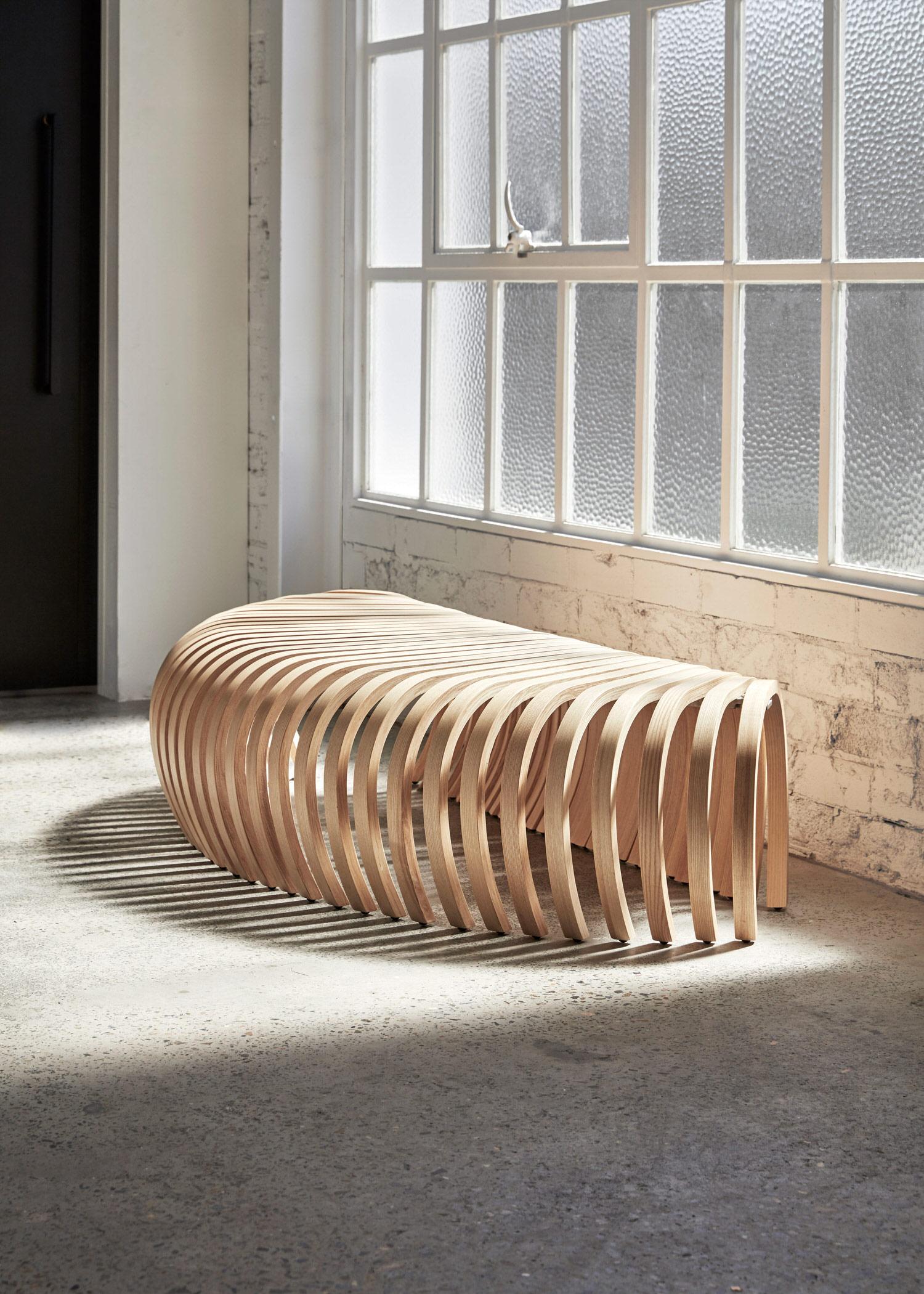 DesignByThem Ribs Bench Ash Timber, Australian Design   Yellowtrace