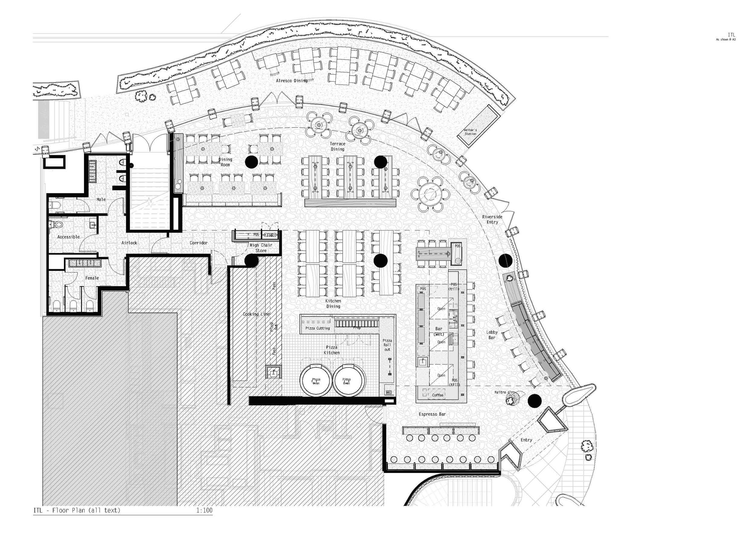 ITL Restaurant Adelaide, Genesin Studio + Walter Brooke, Floor Plan   Yellowtrace