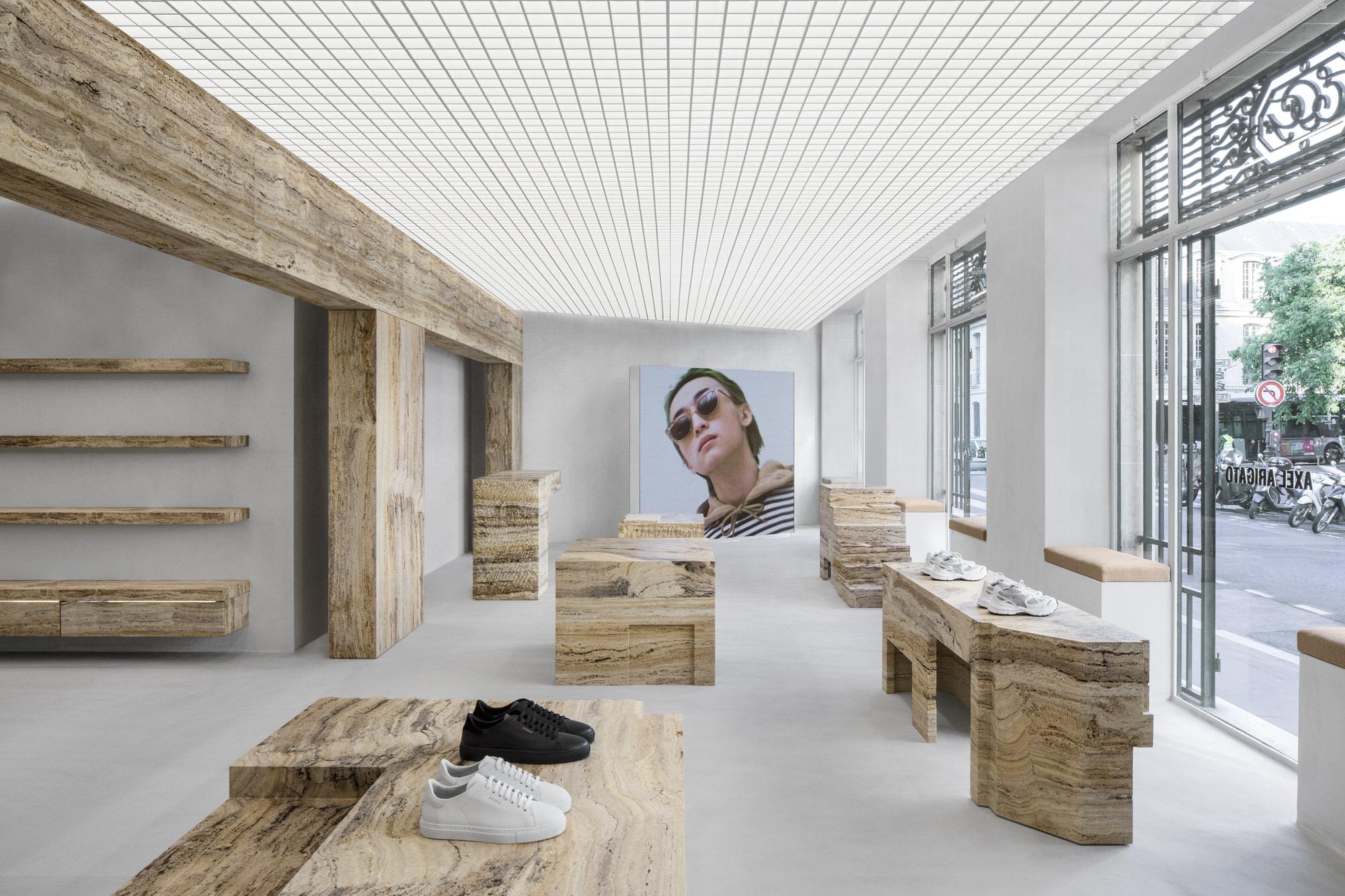 Halleroed Axel Arigato Paris Flagship Retail Interiors Travertine Yellowtrace 02