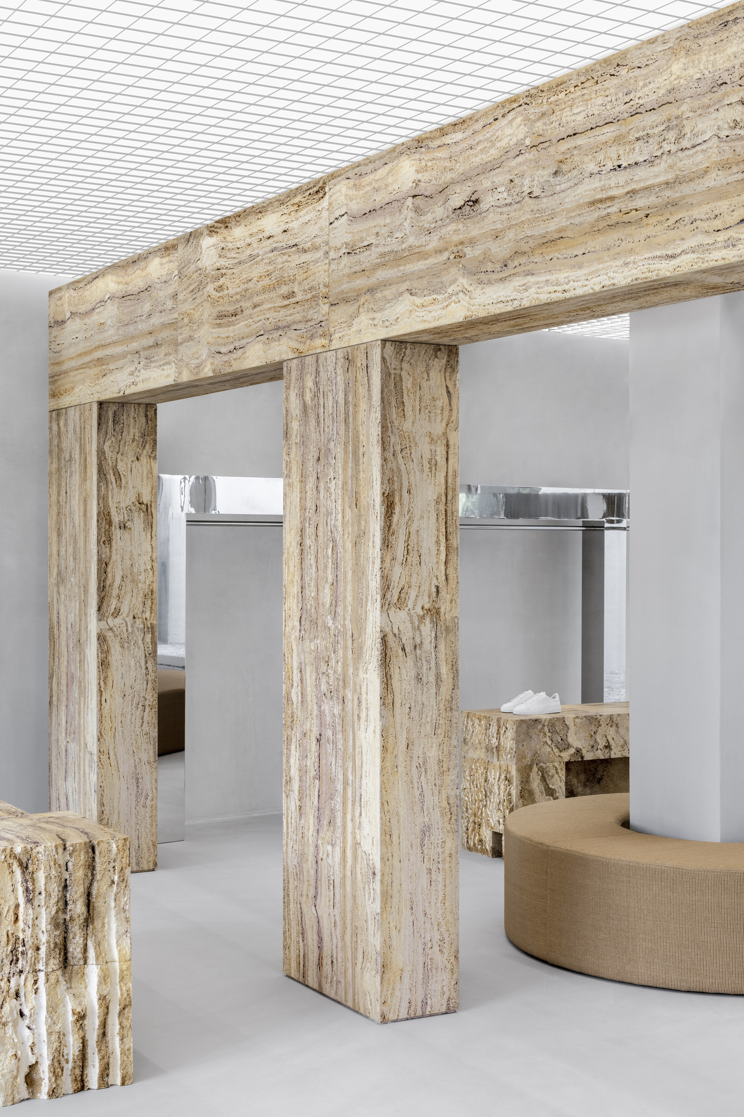 Halleroed Axel Arigato Paris Flagship Retail Interiors Travertine Yellowtrace 05