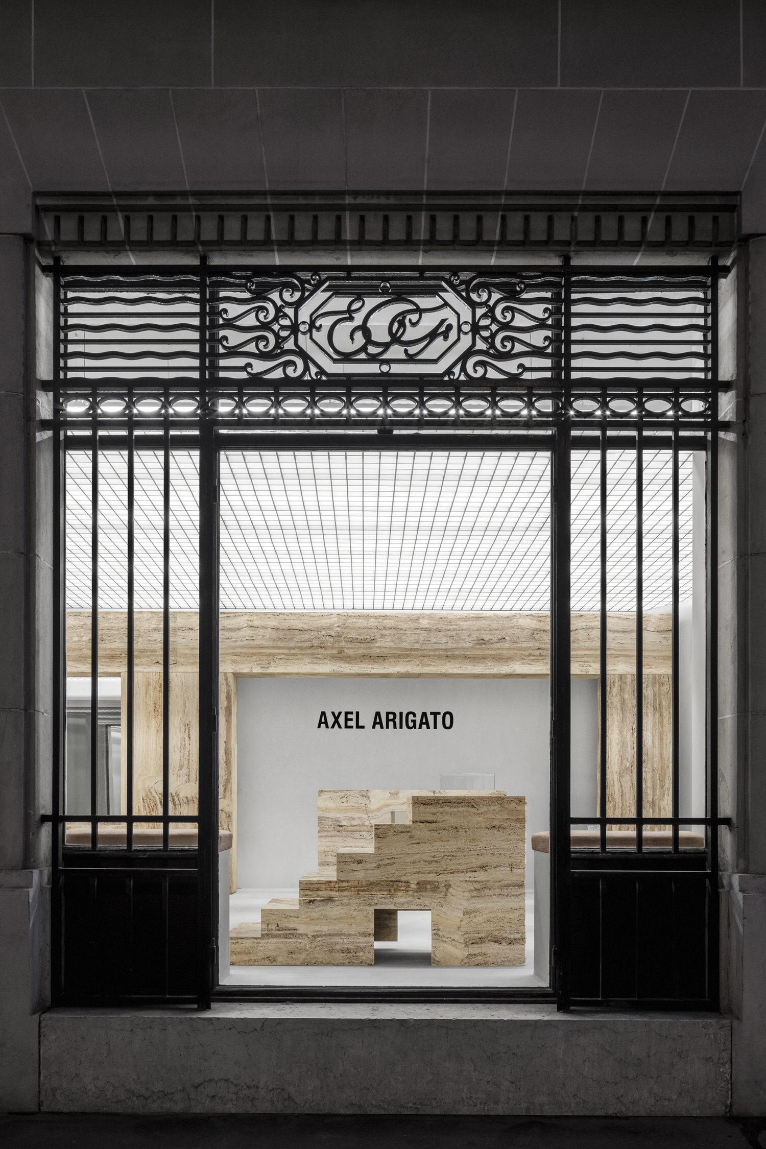 Halleroed Axel Arigato Paris Flagship Retail Interiors Travertine Yellowtrace 07