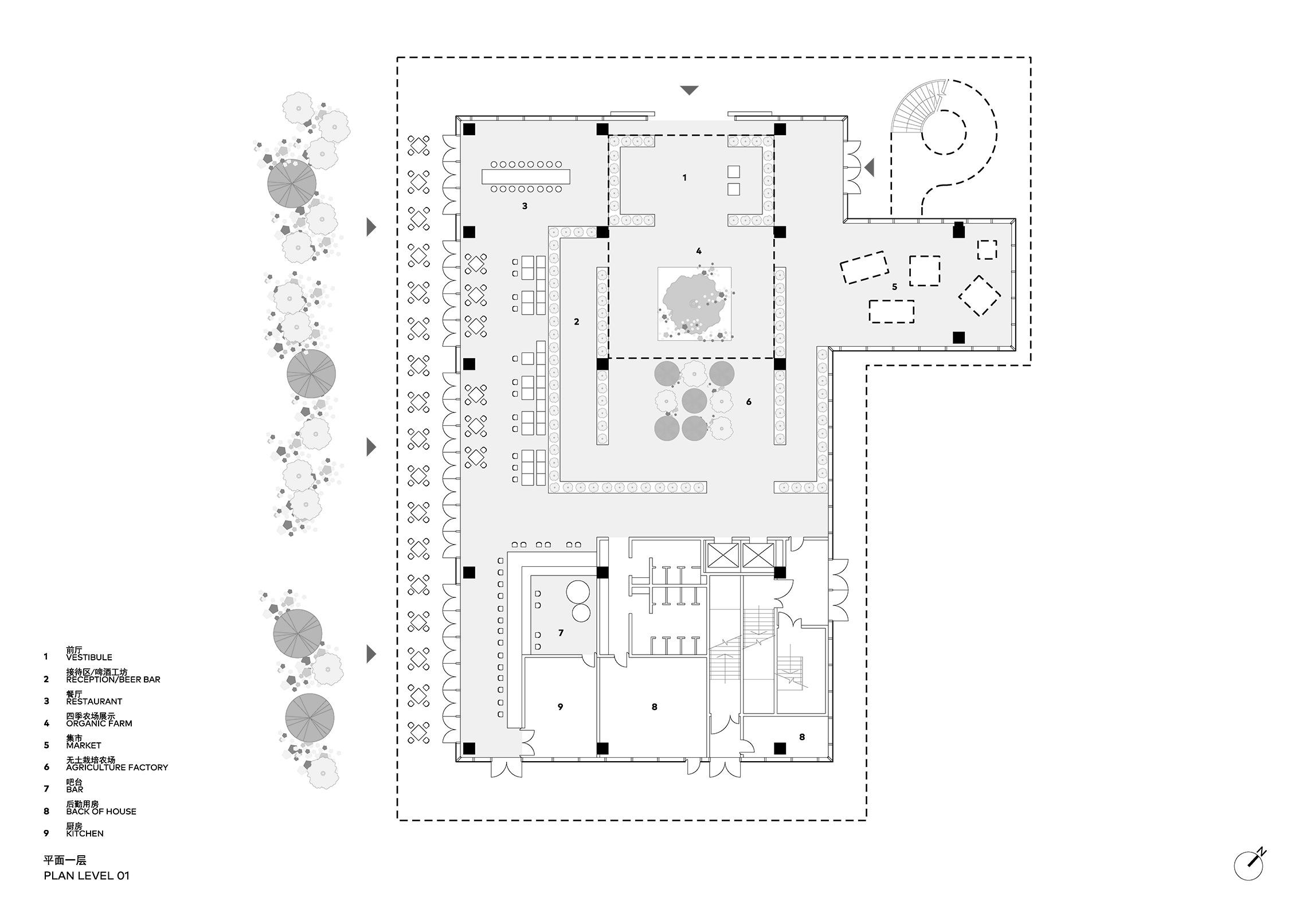 Clou Architects Sanya Farm Lab Co Life Level 01 Plan Yellowtrace