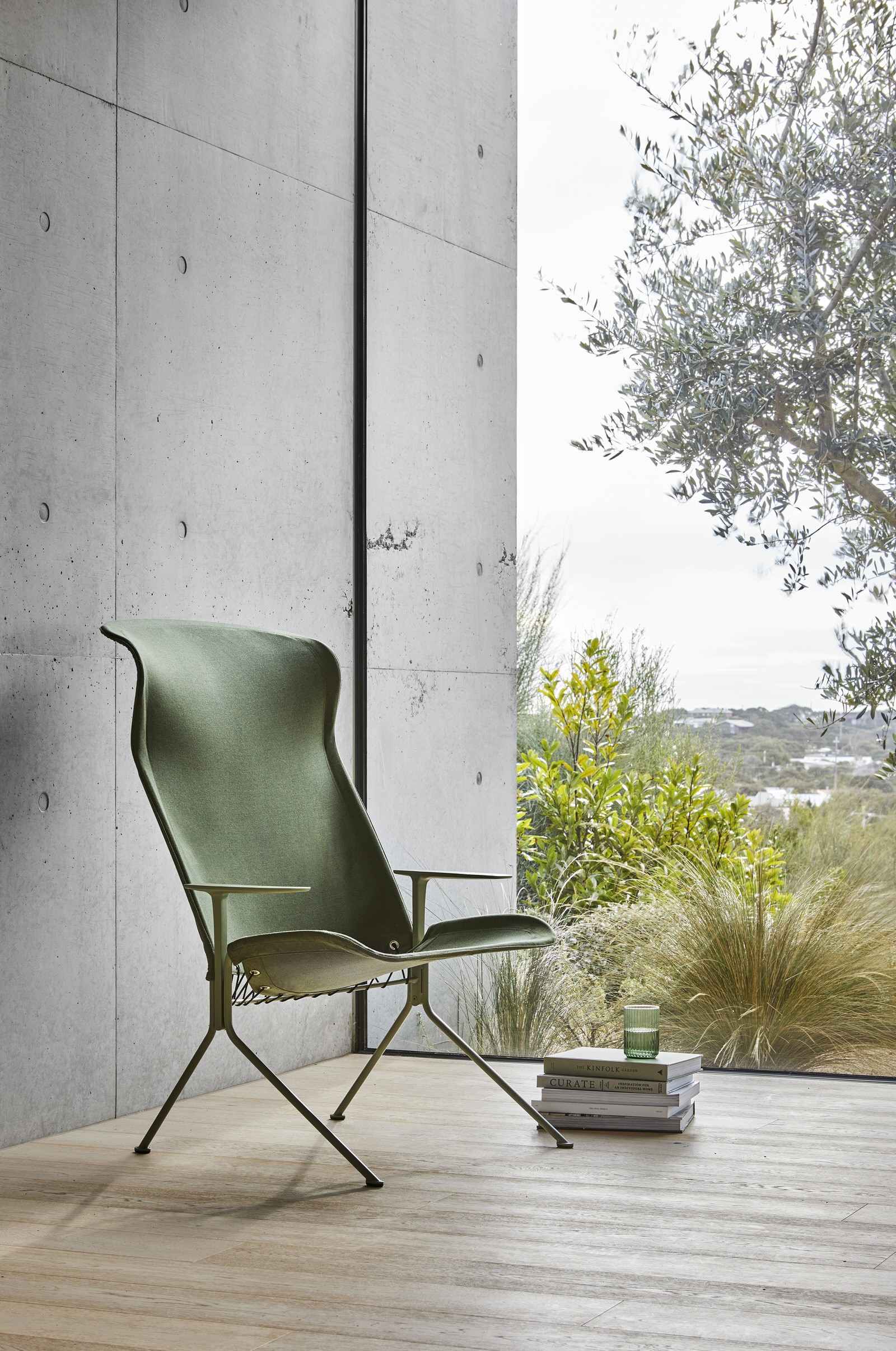 Tait Zephyr Lounger High Back With Arms Bankisa Leaf Textured Sunbrella Col Fern Yellowtrace
